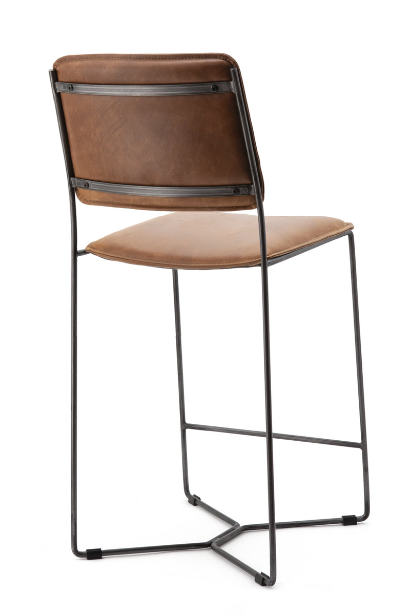 Cognac Leather Barstool | Eleonora Mees | dutchfurniture.com