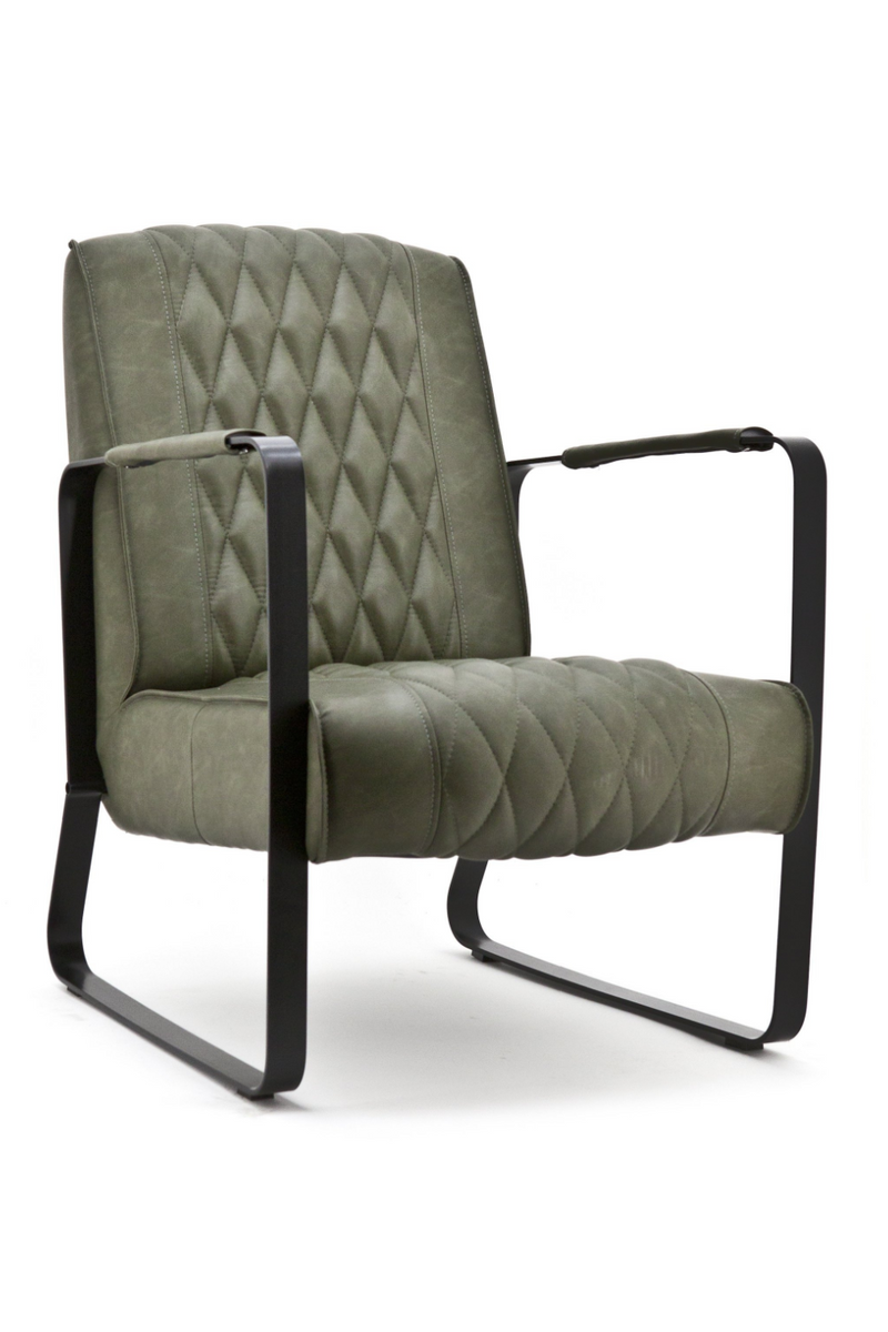 Olive Green Leather Armchair | Caro | dutchfurniture.com