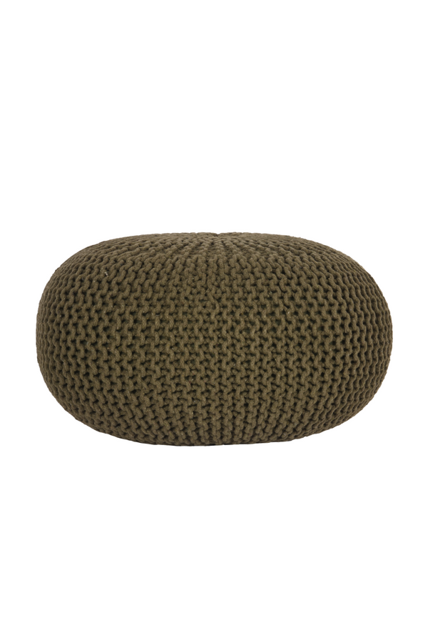 Army Green Cotton Pouf L | LABEL51 Knitted | DutchFurniture.com