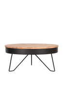 Round Wooden Black Coffee Table | LABEL51 Saran | DutchFurniture.com