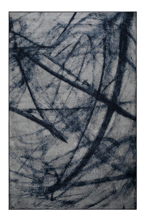 "Blue Contemporary Area Rug 5'5"" x 8' 