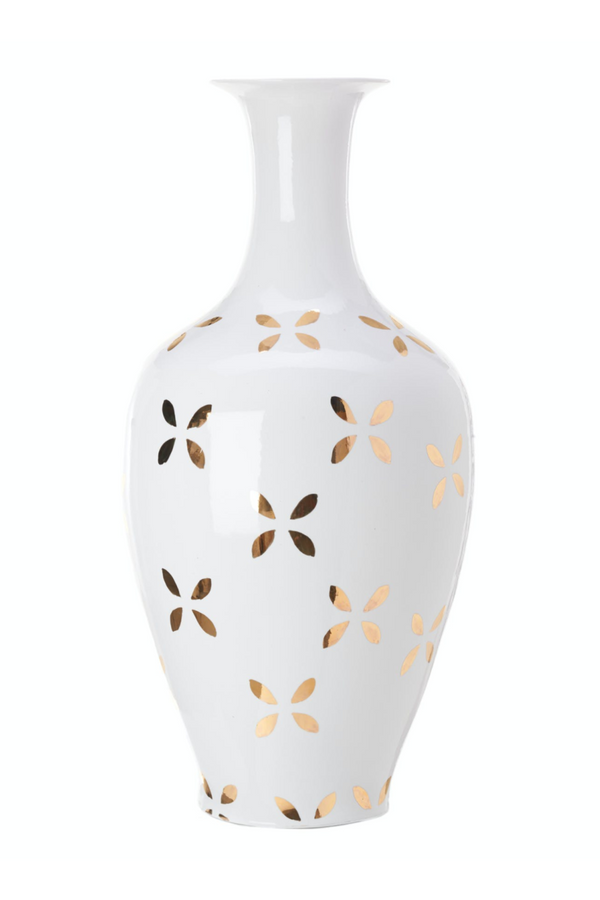 Gold Diagonal Leaves Vase | Pols Potten | DutchFurniture.com