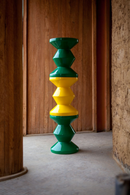 Yellow Lacquered Accent Stool | Pols Potten Zig Zag | DutchFurniture.com