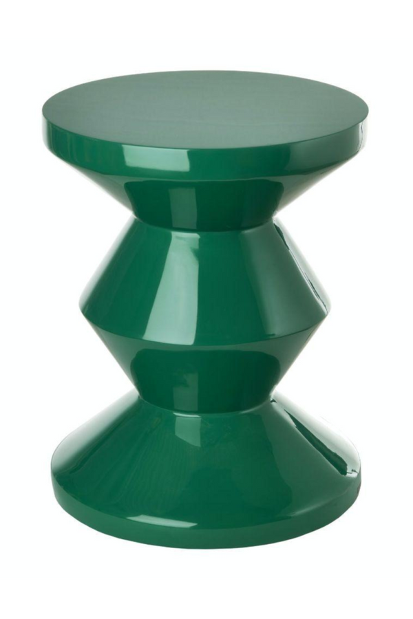 Green Lacquered Accent Stool | Pols Potten Zig Zag | DutchFurniture.com