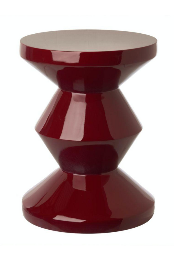 Burgundy Lacquered Accent Stool | Pols Potten Zig Zag | DutchFurniture.com