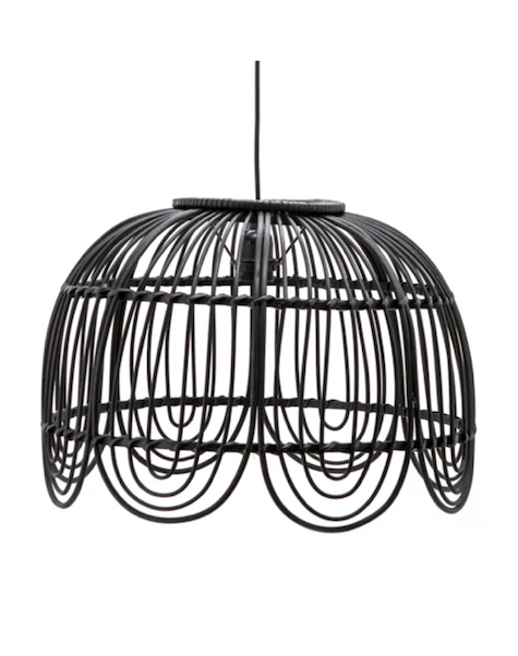 (Open Box) Black Rattan Cage Pendant Lamp | By-Boo Jin