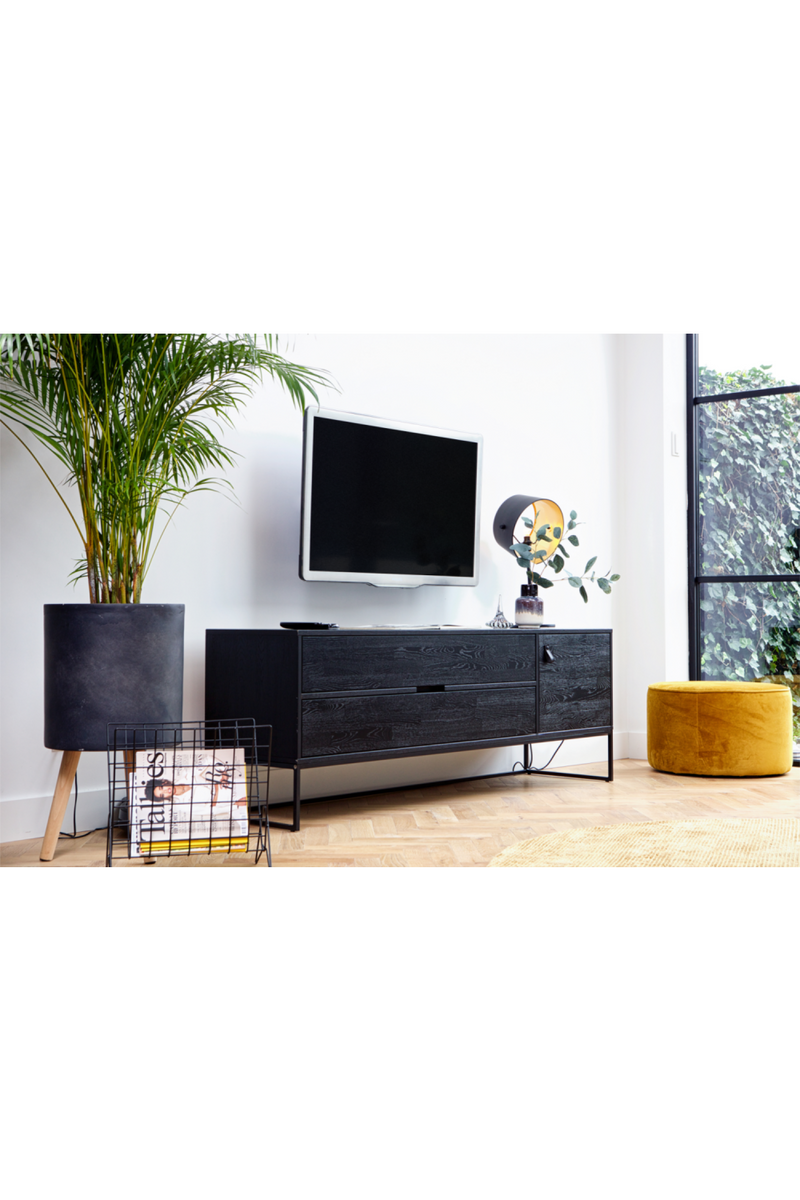 Black Oak Wood Media Unit | Woood Silas | DutchFurniture.com