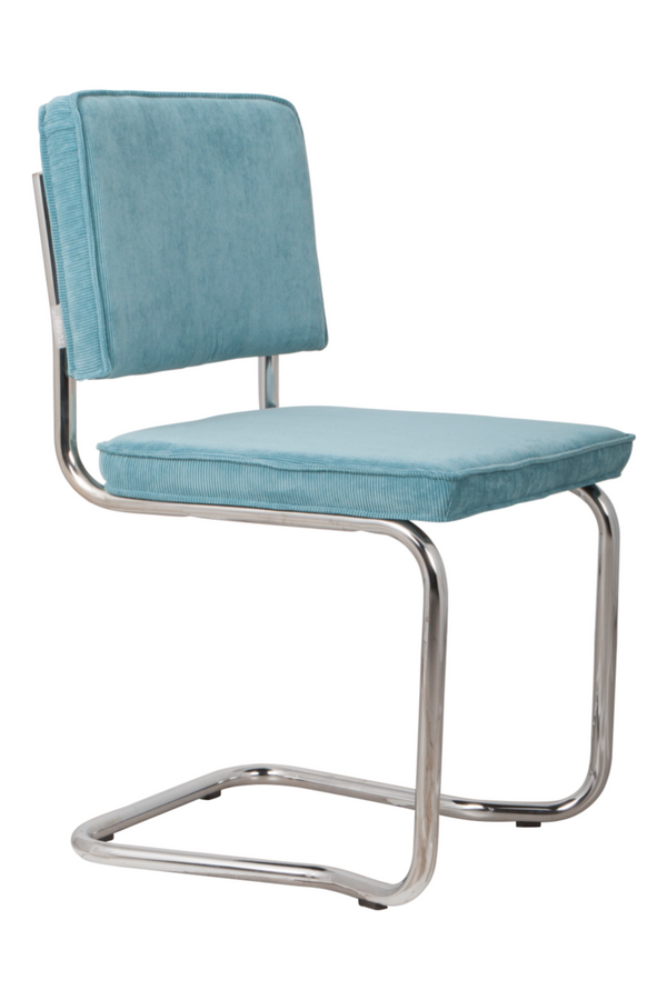 Blue Rib Upholstered Dining Chairs (2) | Zuiver Ridge Kink | DutchFurniture.com