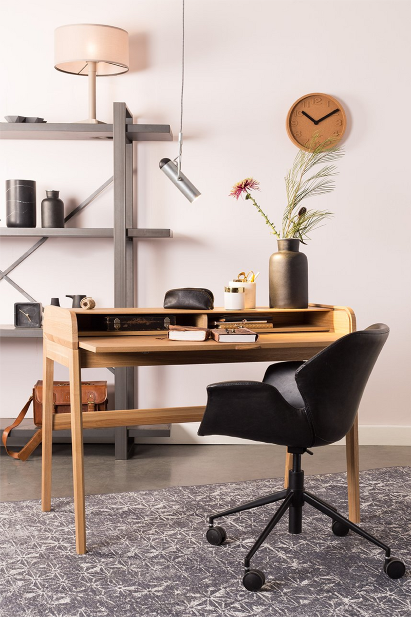 Black Leather Office Chair | Zuiver Nikki | dutchfurniture.com