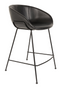 Black Leather Barrel Counter Stools (2) | Zuiver Feston | dutchfurniture.com