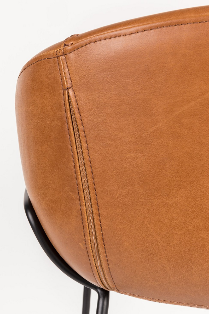 Brown Leather Barrel Counter Stools (2) | Zuiver Feston | dutchfurniture.com