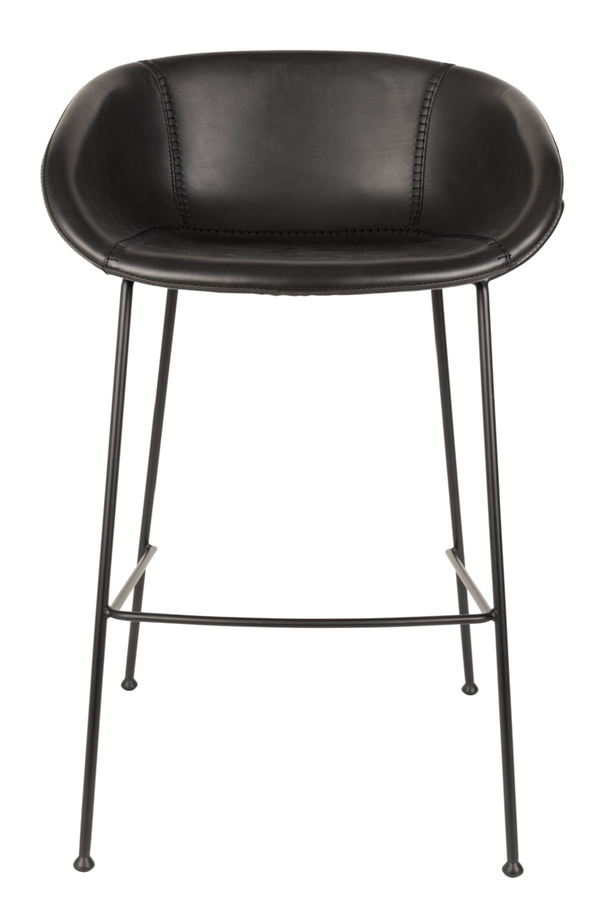 Black Leather Barrel Barstools (2) | Zuiver Feston | dutchfurniture.com