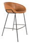 Brown Leather Barrel Barstools (2) | Zuiver Feston | dutchfurniture.com
