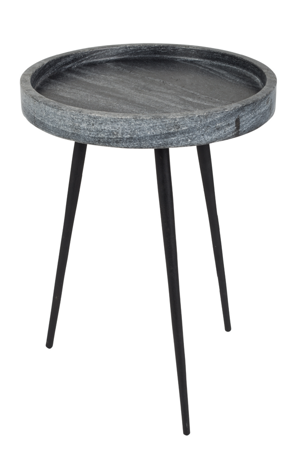 Rounded Gray Marble End Table | Zuiver Karrara | Dutchfurniture.com