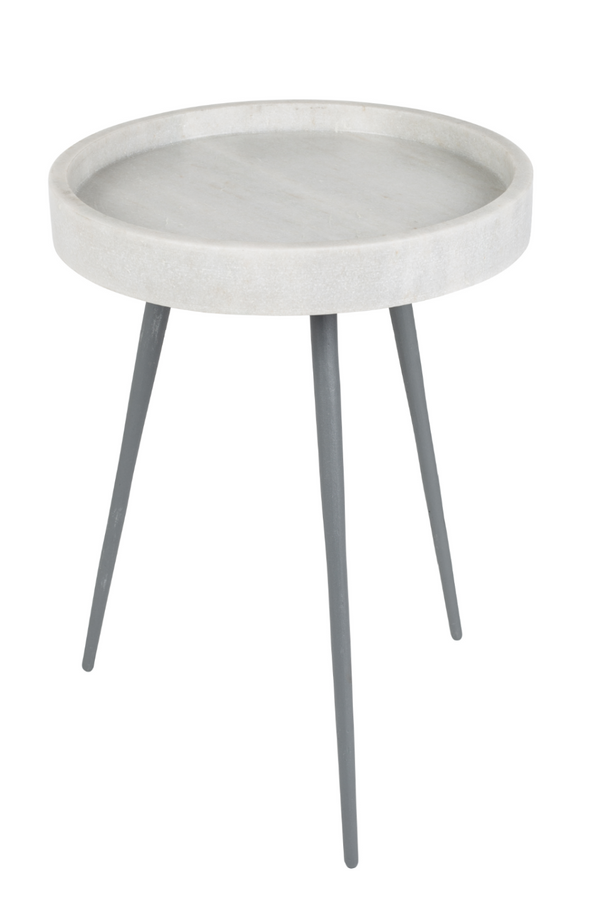 Rounded White Marble End Table | Zuiver Karrara | DutchFurniture.com