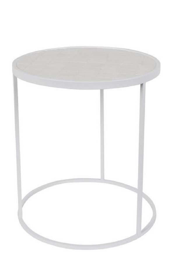 Round White Tile End Table | Zuiver Glazed | DutchFurniture.com