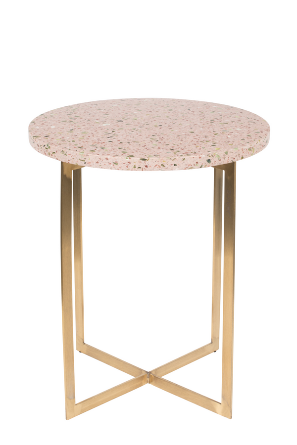 Pink Round Tarazzo End Table | Zuiver Luigi | DutchFurniture.com
