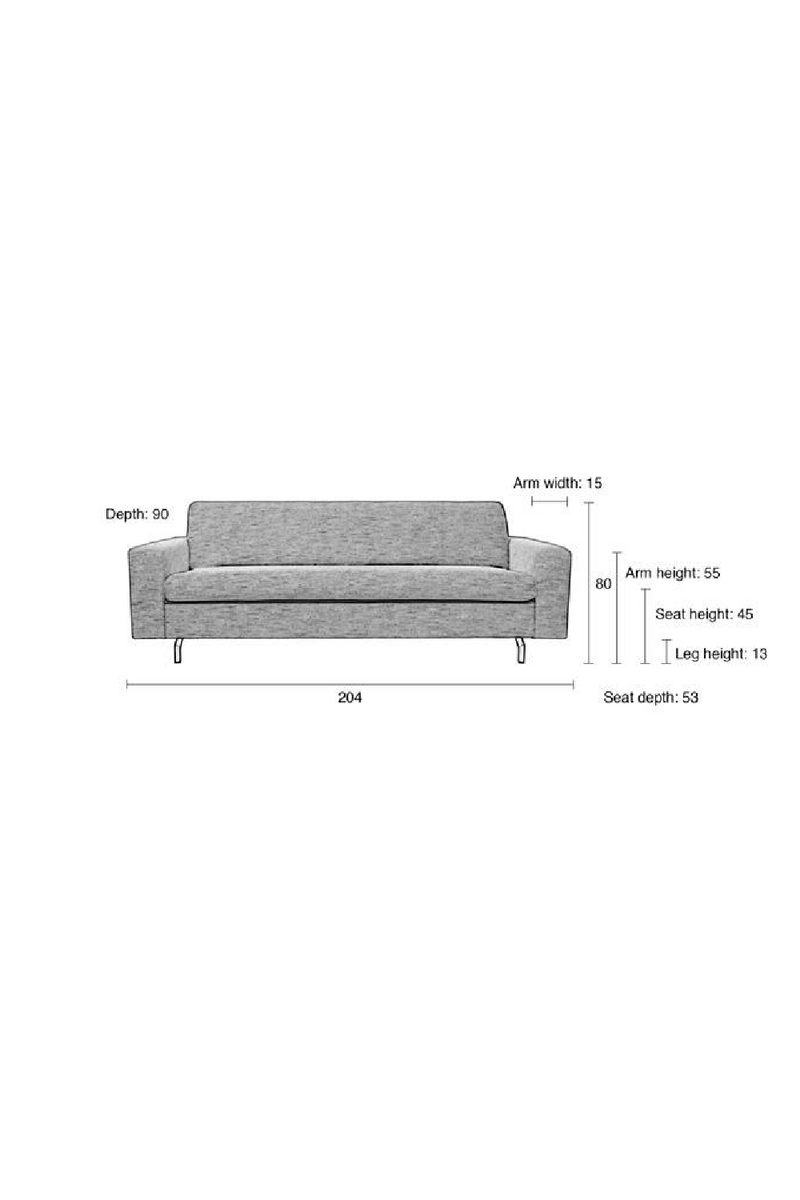 Dark Gray Upholstered 2.5-Seater Sofa | Zuiver Jean | dutchfurniture.com