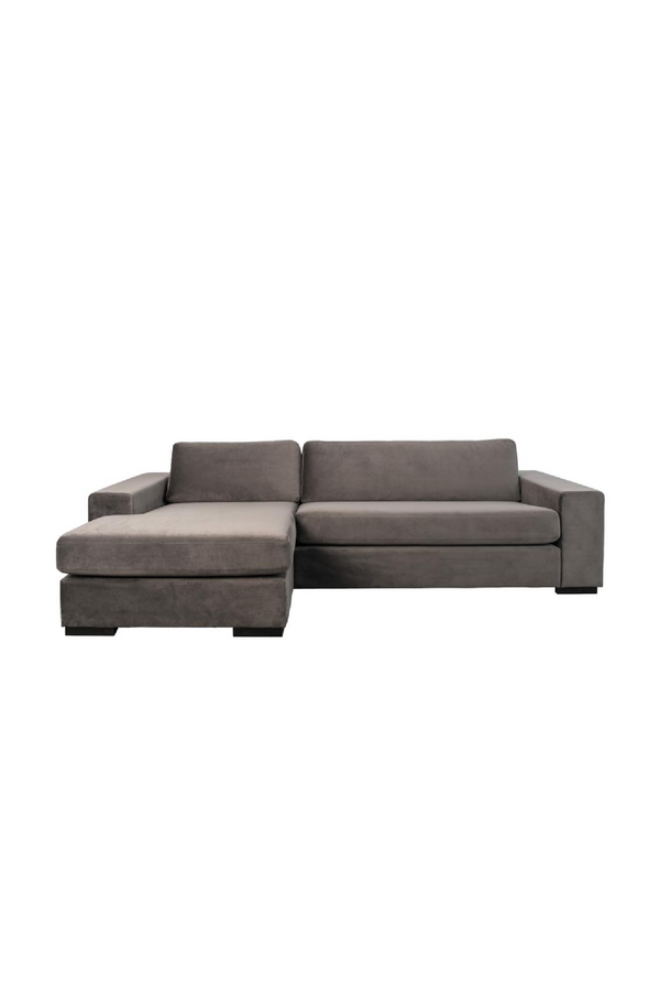 Gray Velvet Left Sectional Sofa | Zuiver Fiep | DutchFurniture.com
