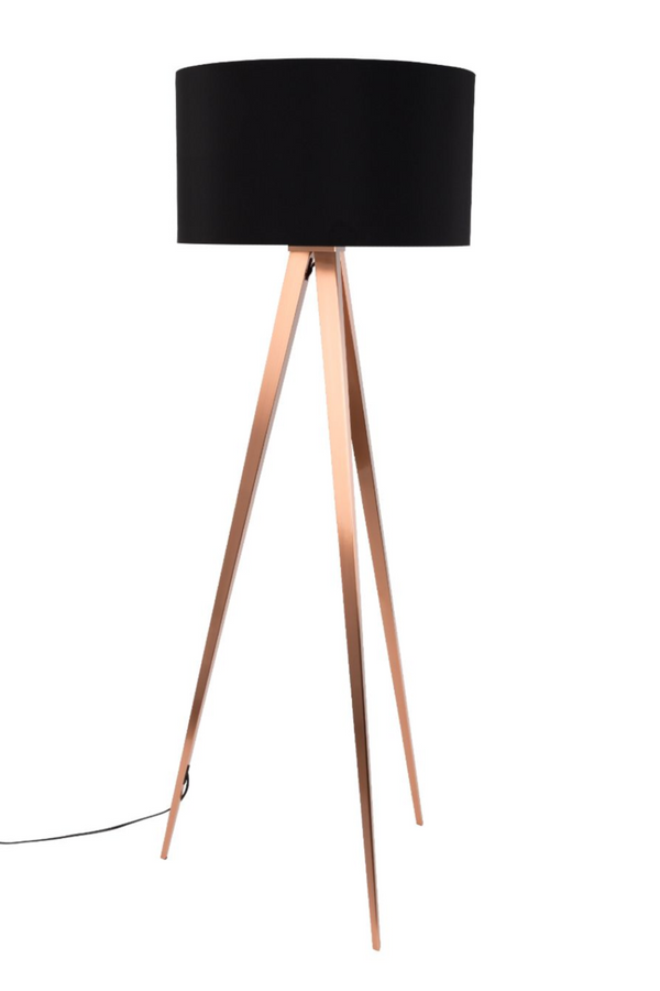 Black Metal Floor Lamp | Zuiver Tripod Copper