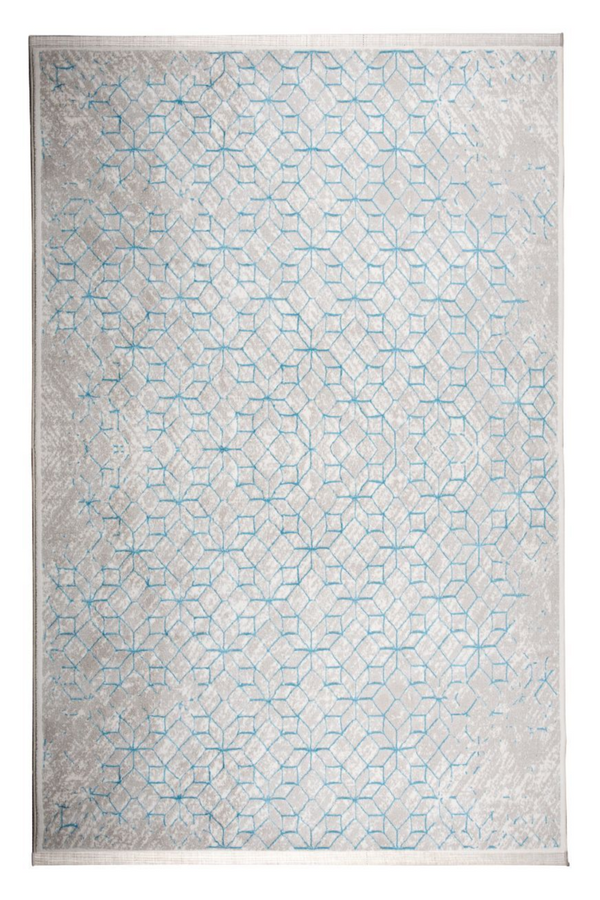 Blue Geometric Area Rug 5' x 7'5"