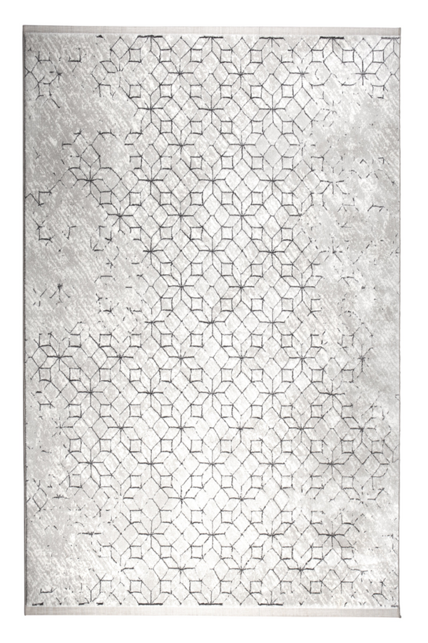 Gray Geometric Pattern Carpet 5' X 7'5"