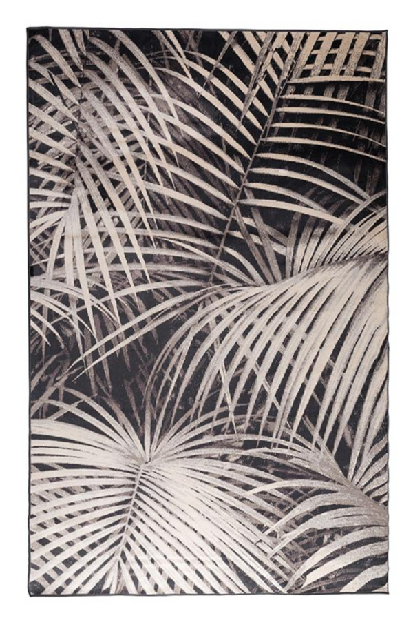 Black Botanical Area Rug 5' X 7'5"