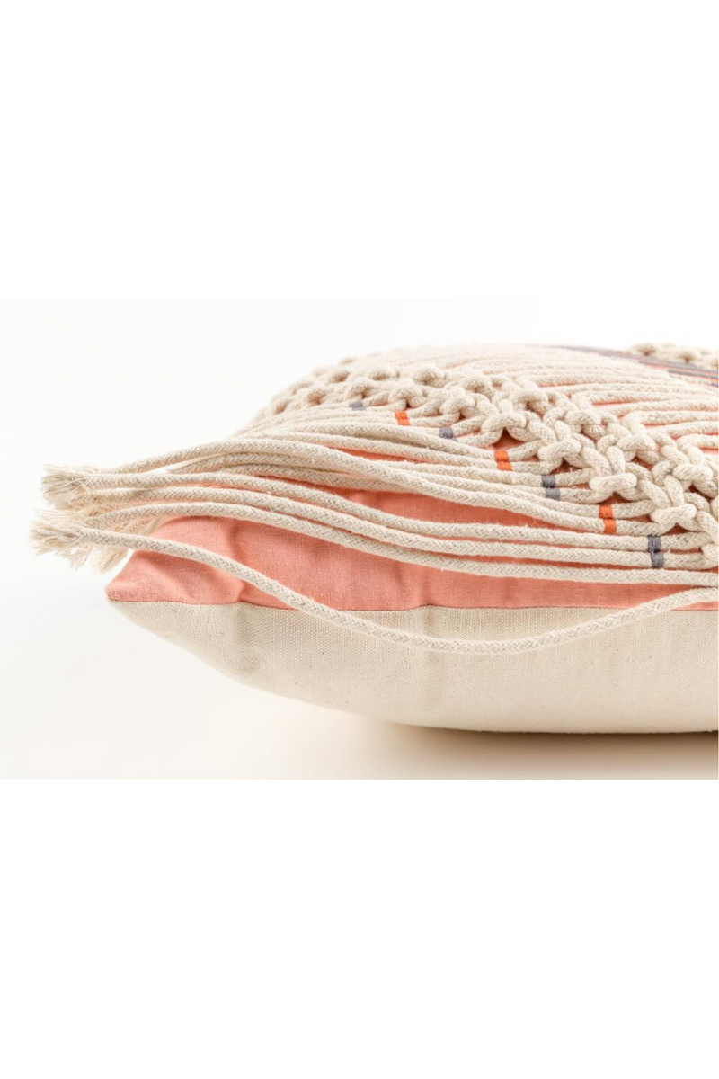 Ivory Pink Macramé Pillows (2) | Zuiver Saar | dutchfurniture.com