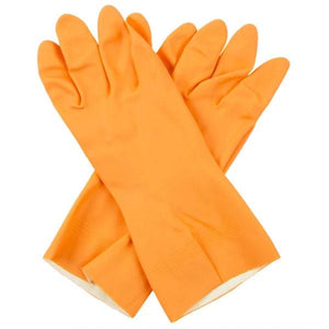 0664 - Flock line Reusable Rubber Hand Gloves (Orange) - 1pc - DeoDap