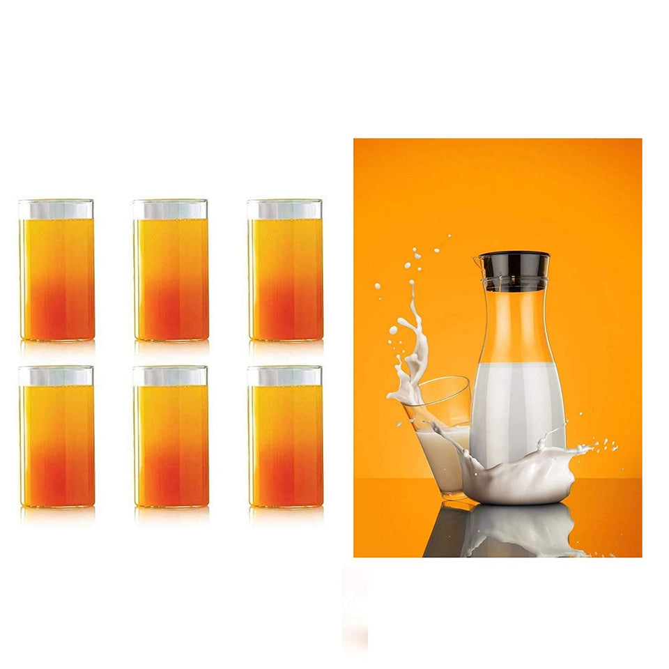 076_Transparent Unbreakable Water Juicy Jug and 6 Pcs. Glass Combo Set for Dining Table Office Restaurant Pitcher