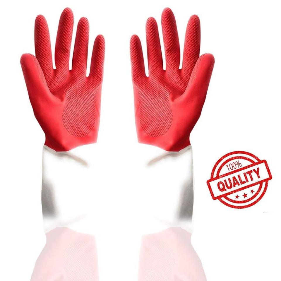 0672 - Dual Color Reusable Rubber Hand Gloves (Red + White) - 1 pc - DeoDap