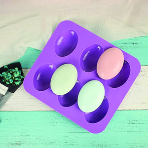 0774 Silicon 6 Cavity Non Stick Oval Shape Mould Tray