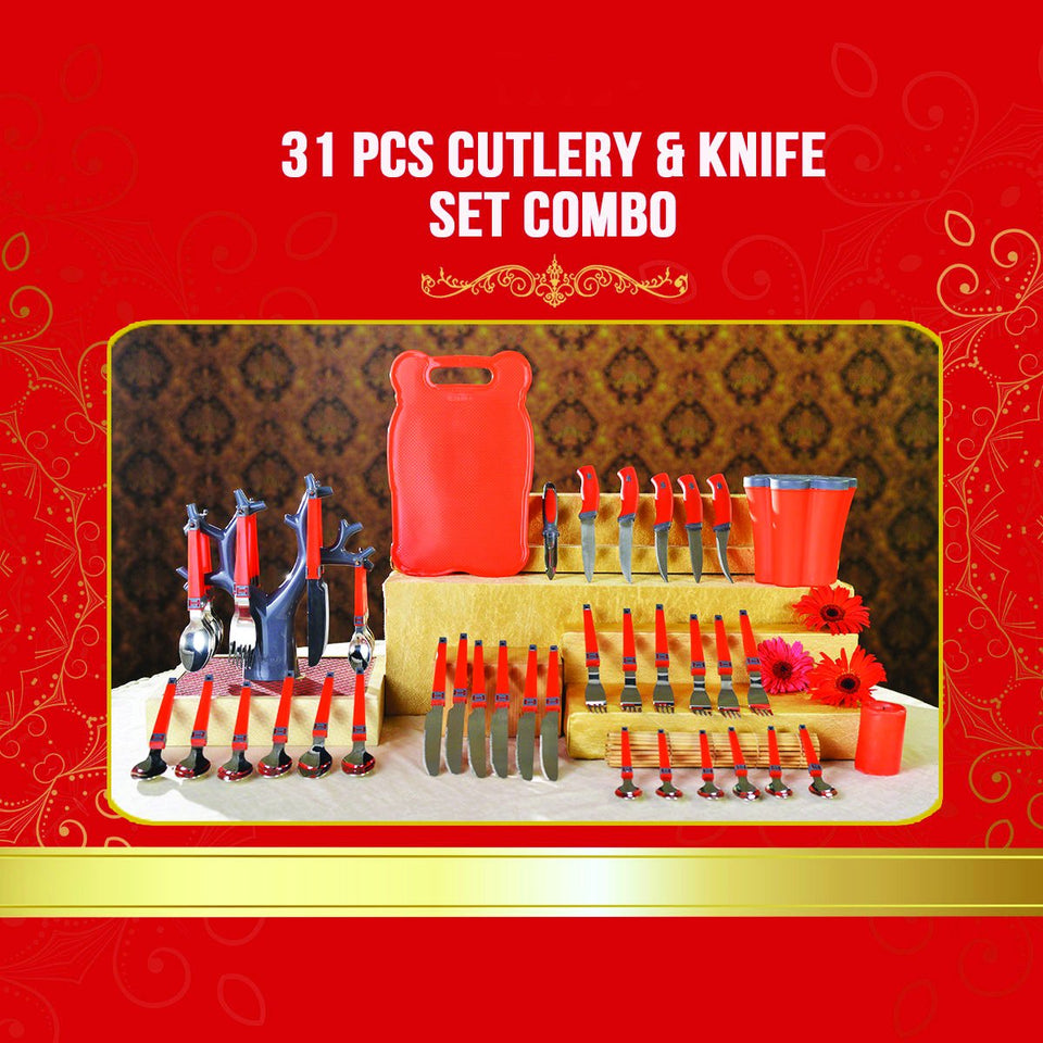 2043 Kitchen Combo 31 Pcs Cutlery & Knife Set