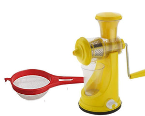 Your Brand Kitchen combo -Manual Fruit Juicer with Plastic Small Tea Strainer Sieve