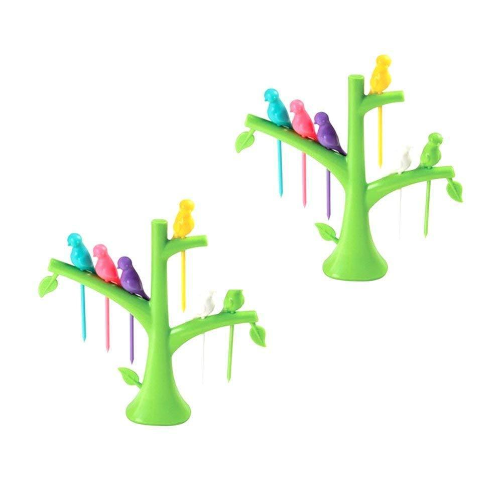 Your Brand Plastic Fancy Bird Cutlery Fork Set with Stand for Kids - Pack of 2