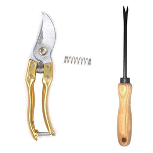 Your Brand Gardening Combo - Steel Garden Shears Pruners Scissor & Hand Weeder Straight