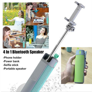 290 -4 In 1 Selfie Stick with Bluetooth Speaker & Power Bank