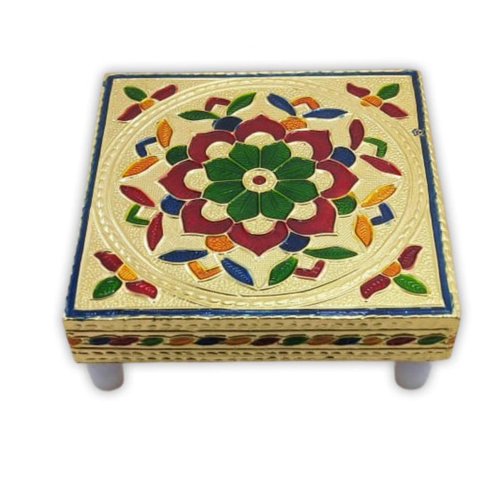 2122 Multipurpose Traditional Decorative Design Wooden Chowki/Bajot - DeoDap