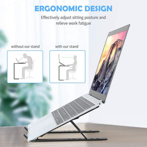 1320 Adjustable Laptop Stand Holder with Built-in Foldable Legs and High Quality Fibre - DeoDap