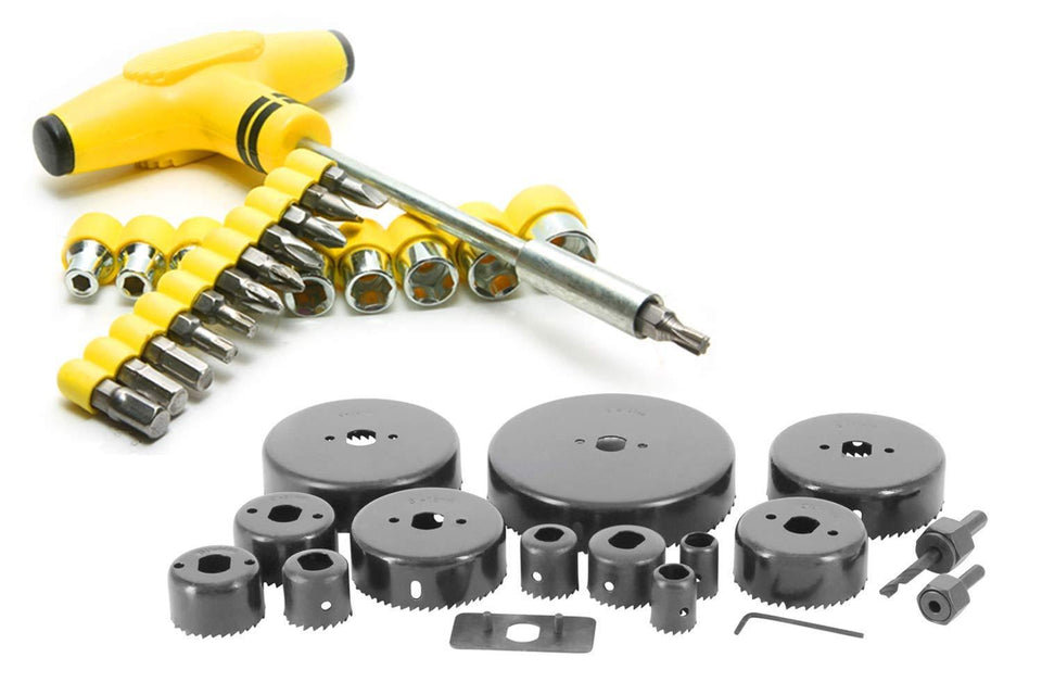 Your Brand Professional Tools- 16 pcs Heavy Duty Hole Saw Cutter Set Cutting Tool with 24 pcs Tspanner Socket Set
