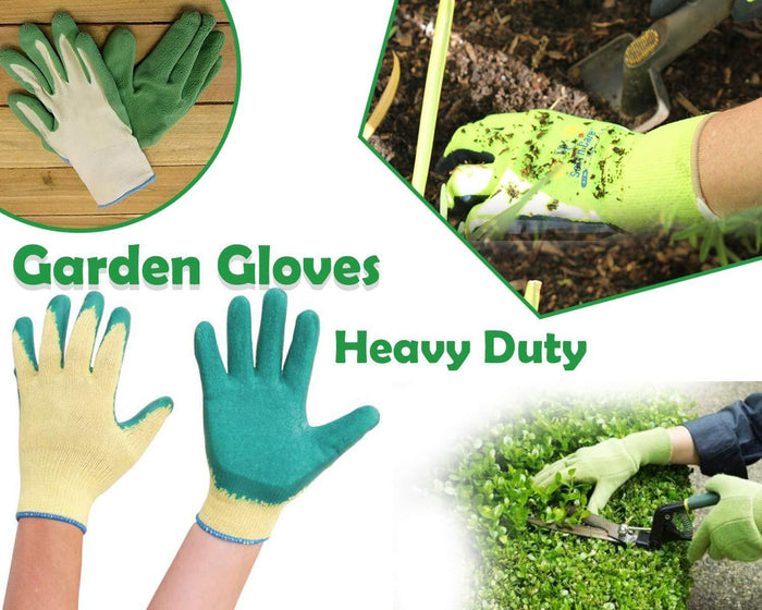 Your Brand Gardening Tools - Falcon Gloves, Flower Cutter/Scissor & Garden Tool Wooden Handle (3pcs-Hand Cultivator, Small Trowel, Garden Fork)