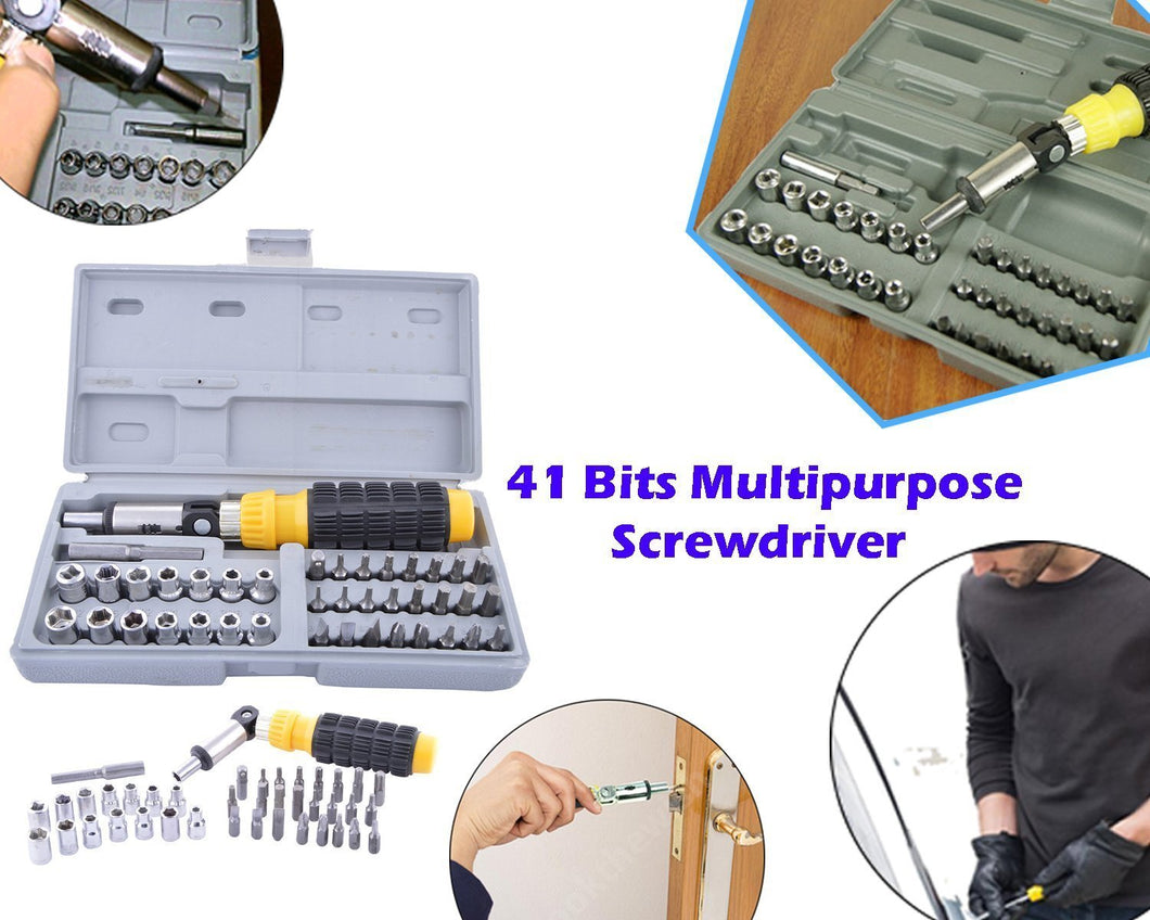 Professional Tool Kit and Screwdriver and Socket Set Accessories, 41Piece Bit and Socket-Set (Multicolour)