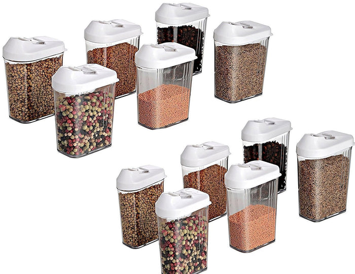 Your Brand Cereal Dispenser Easy Flow Storage Jar 750 ml 12 Pcs Set, Plastic, 10 in, White