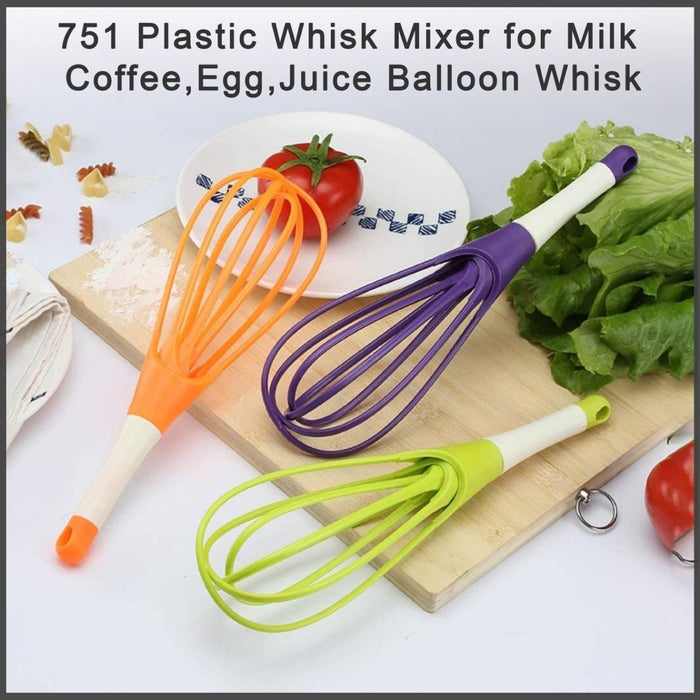 0751_Plastic Whisk Mixer  for Milk,Coffee,Egg,Juice Balloon Whisk