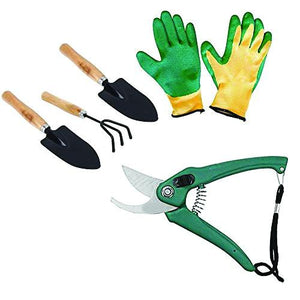 Mitra.Today Gardening Tools - Falcon Gloves, Flower Cutter/Scissor & Garden Tool Wooden Handle (3pcs-Hand Cultivator, Small Trowel, Garden Fork)