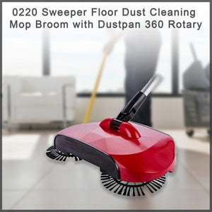 0220 Sweeper Floor Dust Cleaning Mop Broom with Dustpan 360 Rotary - DeoDap