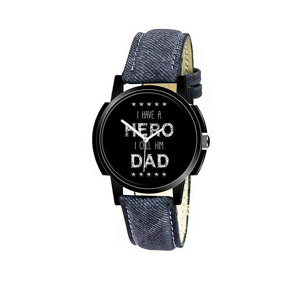 1812 Unique & Premium Analogue Watch I have a HERO I call him DAD Print Multicolour Dial Leather Strap (Watch 12) - DeoDap