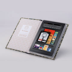 BLUE PERSONALISED RETRO BOOK COVER CASE for the Kindle Fire: Holder
