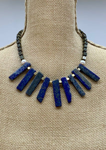 LAPIS, PYRITE & PEARL NECKLACE -WANTED ONE OF A KIND