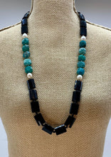 Load image into Gallery viewer, CHRYSOCOLLA, ONYX & PEARL NECKLACE -WANTED ONE OF A KIND